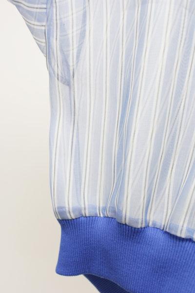 JOHN LAWRENCE SULLIVAN 【40%OFF】シアーストライプリブ切替長袖トップス【18SS】
