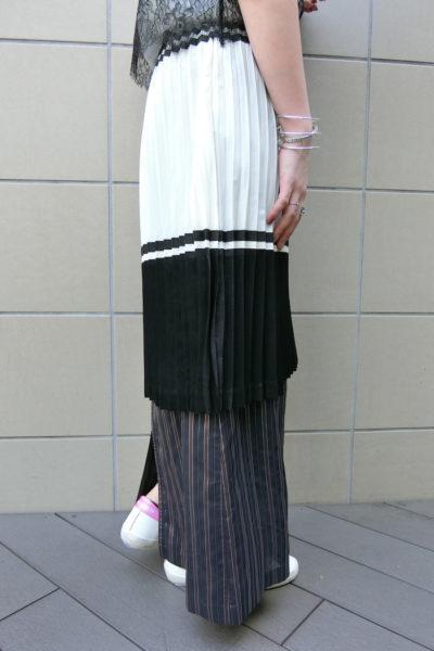 CLEANA 【50%OFF】ストライプレイヤードプリーツロングスカート【18SS】