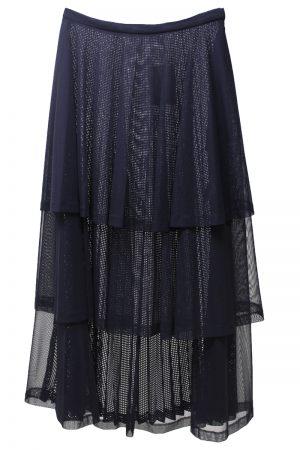 CLEANA 【40%OFF】メッシュ×チュールティアードロングスカート