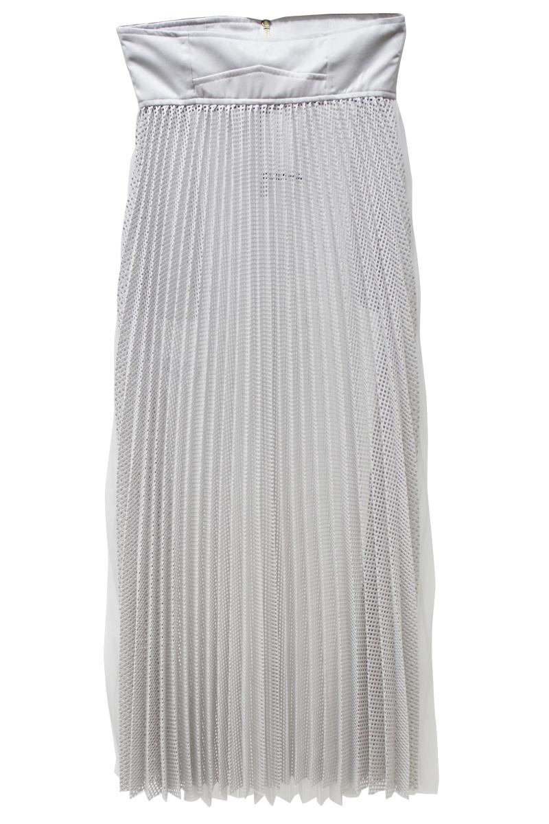 CLEANA メッシュ×チュールプリーツロングスカート