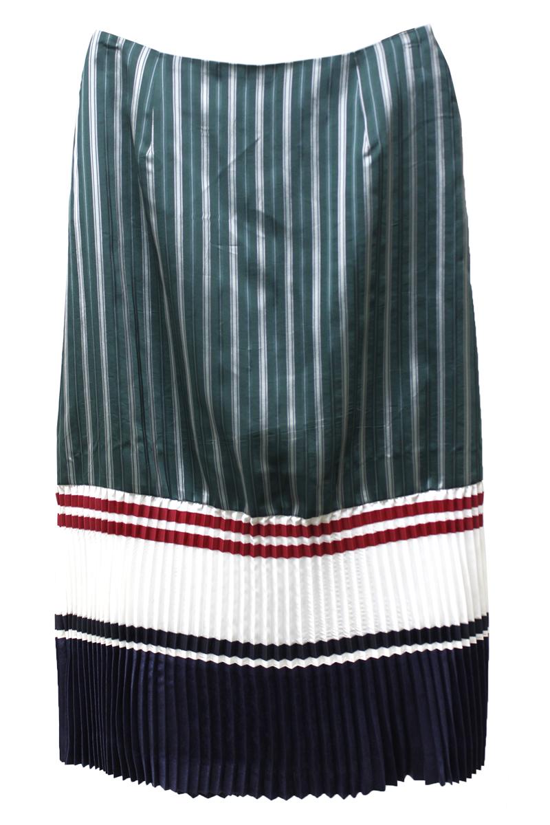 ストライプ裾プリーツロングスカート【18SS】