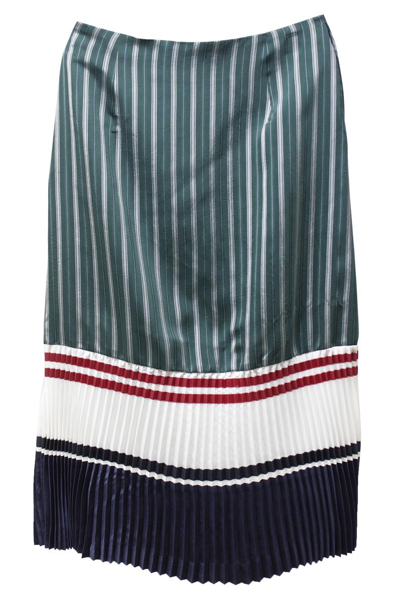 CLEANA 【40%OFF】ストライプ裾プリーツロングスカート
