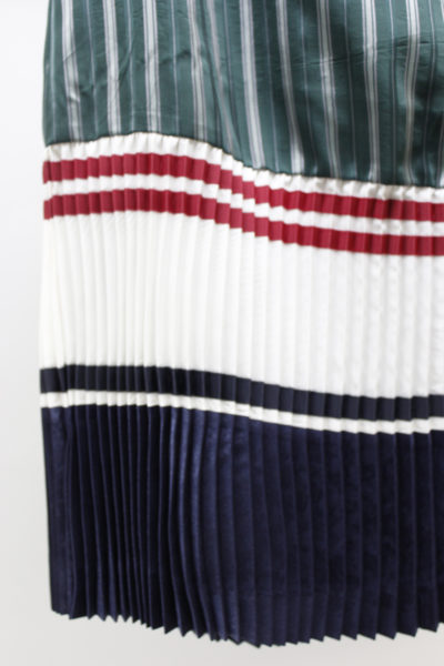 CLEANA ストライプ裾プリーツロングスカート【18SS】