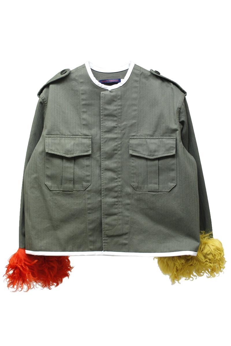 裾ファーノーカラージャケット【18SS】