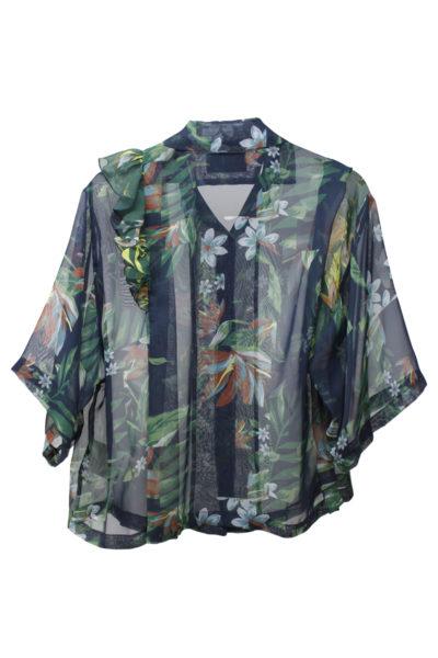 kolor シフォン植物柄オープンカラー半袖シャツ [18SS]