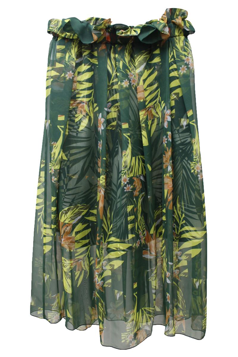 kolor シフォン植物柄レイヤードロングスカート