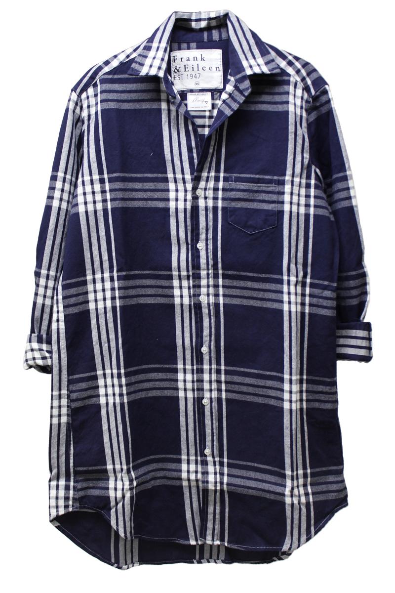 FRANK & EILEEN 【50%OFF】コットンチェックロングシャツ - NAVY, XS
