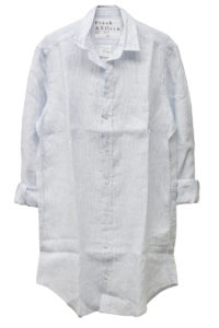 FRANK & EILEEN 【 40%OFF】リネンピンストライプロングシャツ