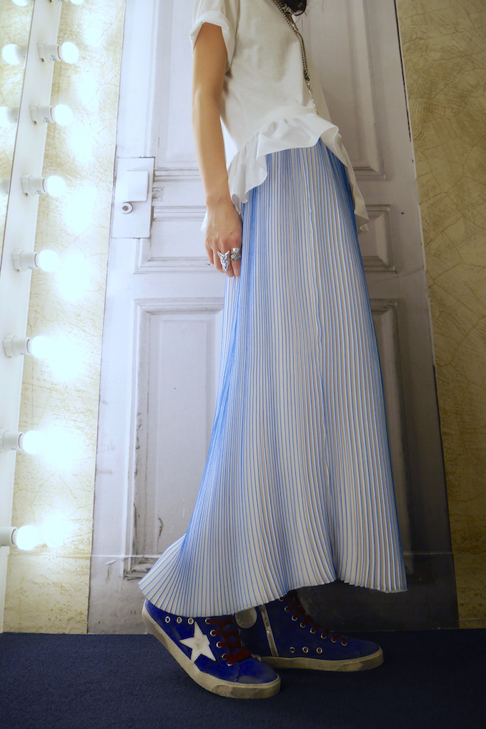 VICTORIA VICTORIA BECKHAM 【50%OFF】配色プリントプリーツロングスカート