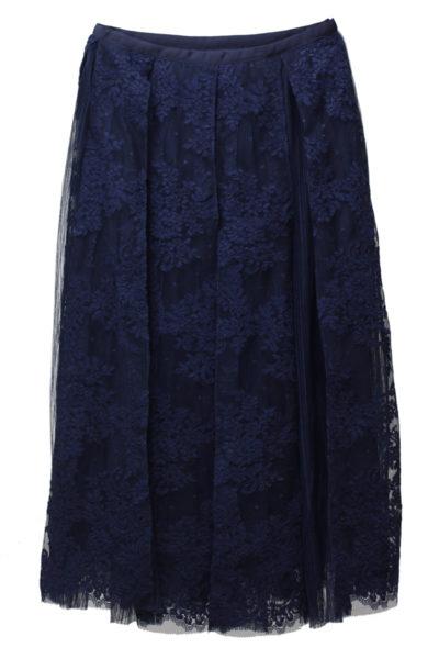 REKISAMI レース×チュールプリーツロングスカート【18AW】