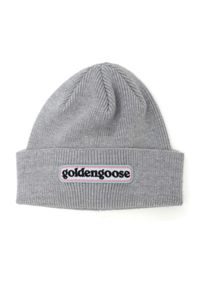 GOLDEN GOOSE DELUXE BRAND ロゴパッチニットキャップ(SILVER)【18AW】