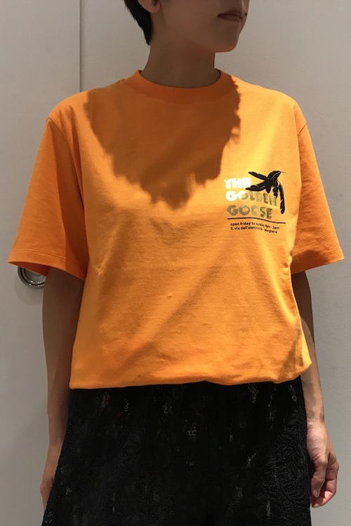 GOLDEN GOOSE DELUXE BRAND ゴールドロゴプリントTシャツ