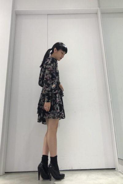 ISABEL MARANT ETOILE ビスコースマルチ柄ティアード長袖ワンピース【18AW】