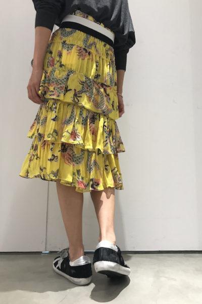 ISABEL MARANT ラメ総柄シャーリングティアードスカート【18AW】