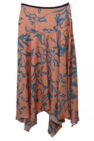 M/M ATTACHMENT サテン花柄フレアーロングスカート
