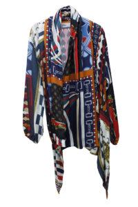 kolor スカーフ柄フレアカラージャケット【18AW】