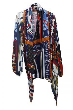 kolor スカーフ柄フレアカラージャケット