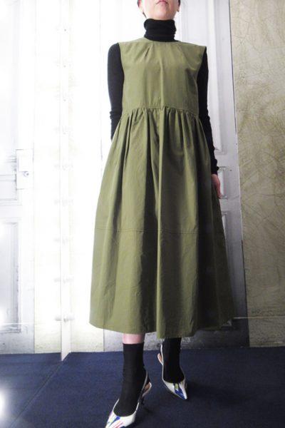 MARNI 【PRE SALE-30%OFF (12/4〜)】コットンノースリーブギャザーロングワンピース【18AW】
