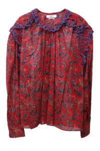 ISABEL MARANT ETOILE 【NEW YEAR SALE-40%OFF (12/30〜)】コットンフラワープリント刺繍フリルブラウス【18AW】