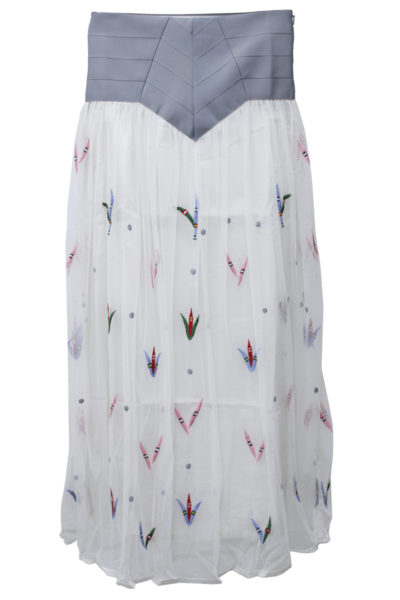 QUEENE and BELLE チュール刺繍ハイウエストロングスカート【18AW】