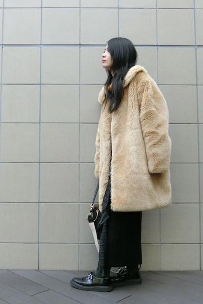 SARA LANZI 【40%OFF】エコファー丸襟コート【18AW】