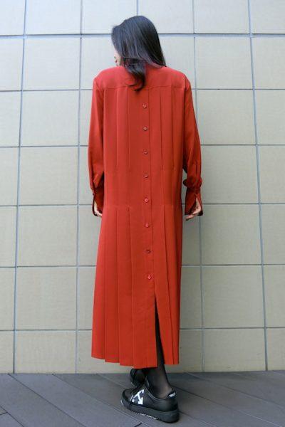 CHLOÉ シルクスタンドカラーロングドレス【18AW】