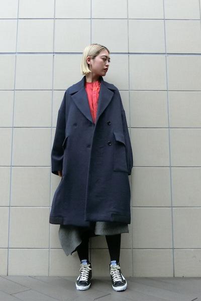 HACHE 【40%OFF】綾ウールダブルワイドコート【18AW】