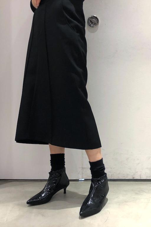 MARCOMONDE 【40%OFF】パイソン風ギャザーアンクルブーツ【18AW】