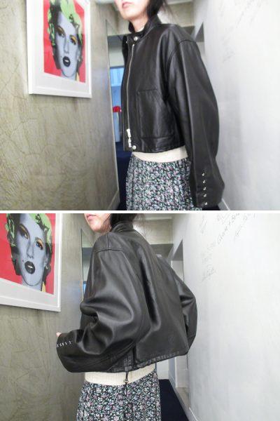 3.1 PHILLIP LIM ラムレザー袖ホックスタンドジャケット