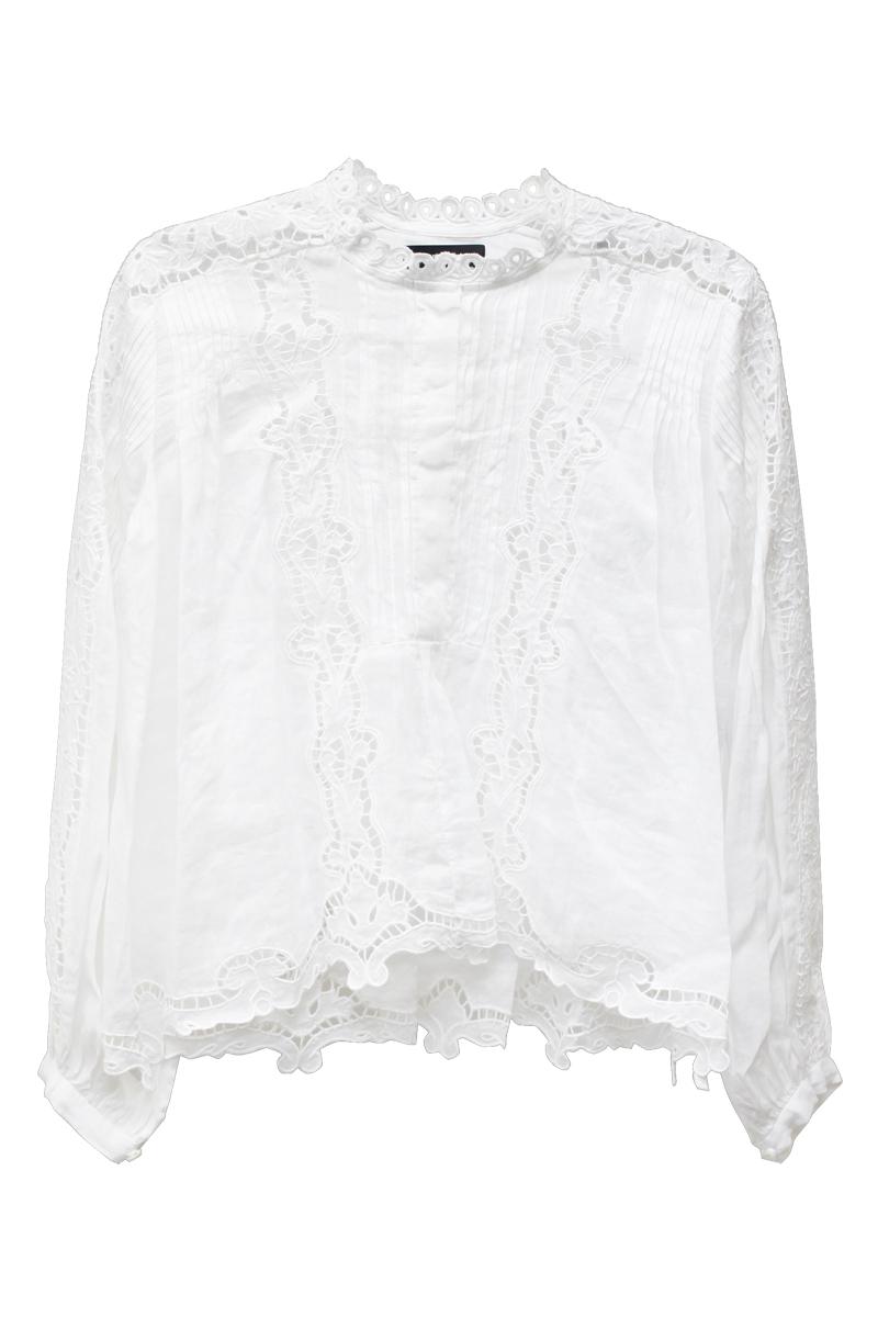 ISABEL MARANT 【NEW YEAR SALE - 40%OFF (12/30〜)】ラミー刺繍レースノーカラーブラウス【18AW】