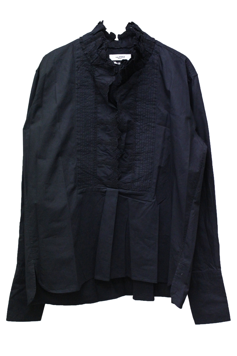 ISABEL MARANT ETOILE 【NEW YEAR SALE - 40%OFF (12/30〜)】フリルネックピンタック長袖ブラウス【18AW】