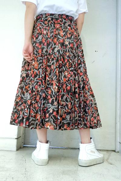 ISABEL MARANT ETOILE コットン花柄ギャザーロングスカート [19SS]