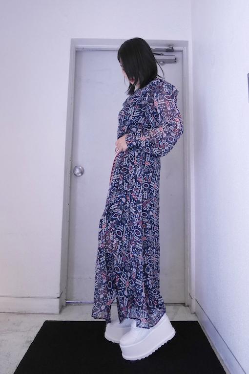 ISABEL MARANT ETOILE マルチ柄マキシシャツワンピース [19SS]