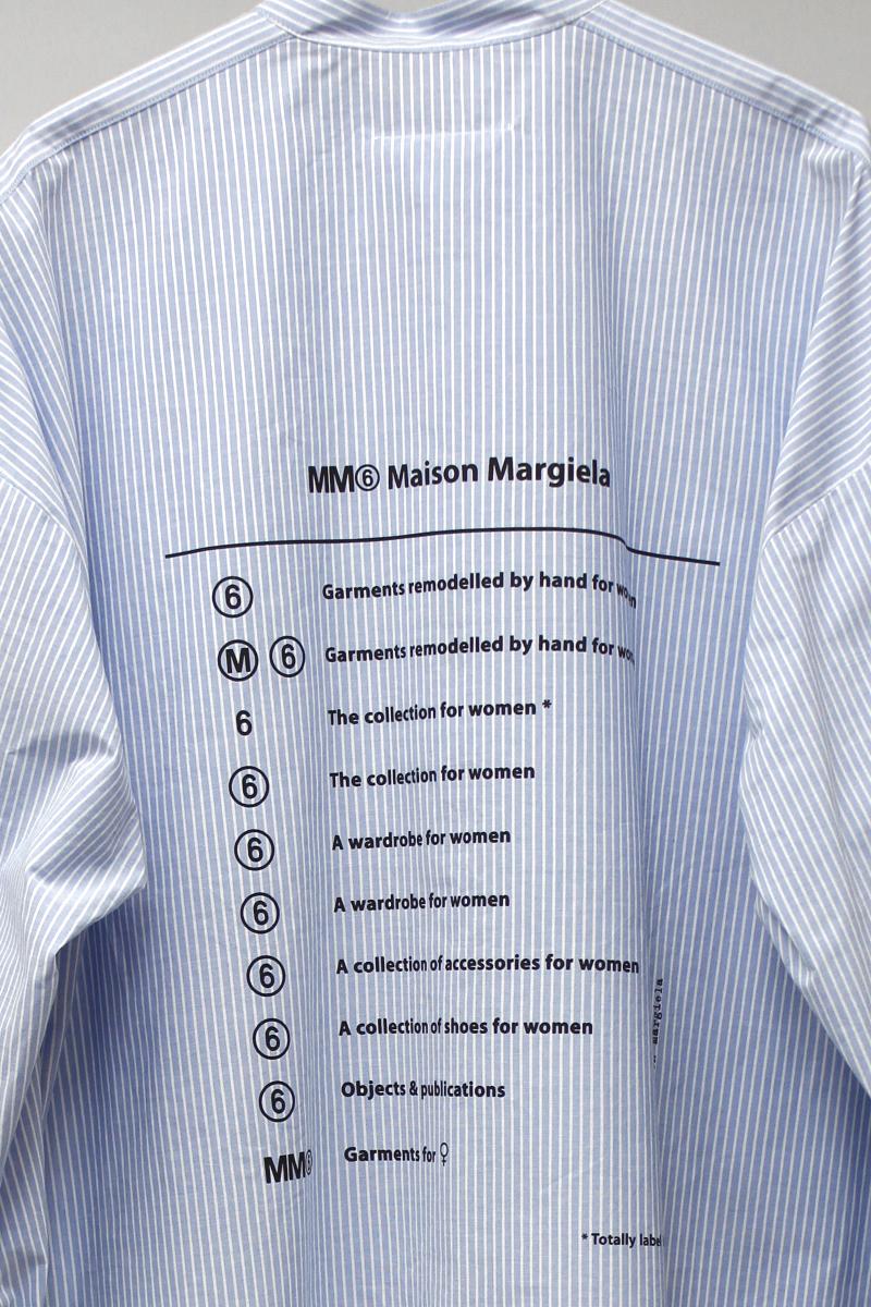 MM6 MAISON MARGIELA ノーカラーストライプシャツワンピース【19SS】
