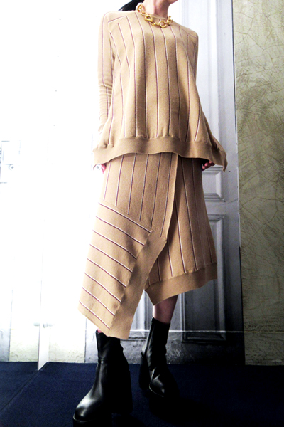 STELLA McCARTNEY ストライプアシンメトリーニットスカート [19SS]