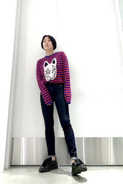 QUEENE and BELLE Lucky Cat ボーダーニット [19SS]