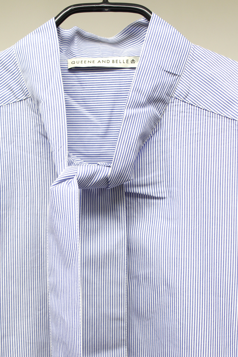 QUEENE and BELLE ストライプボウタイシャツ