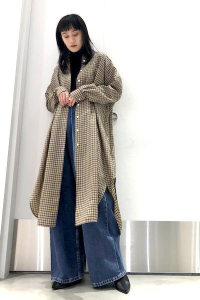 HACHE チェック柄シャツワンピース【19SS】
