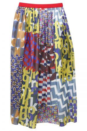 kolor ナイロンマルチ柄フレアギャザースカート [19SS]