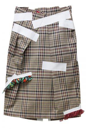 kolor テーピングチェック柄タイトスカート【19SS】