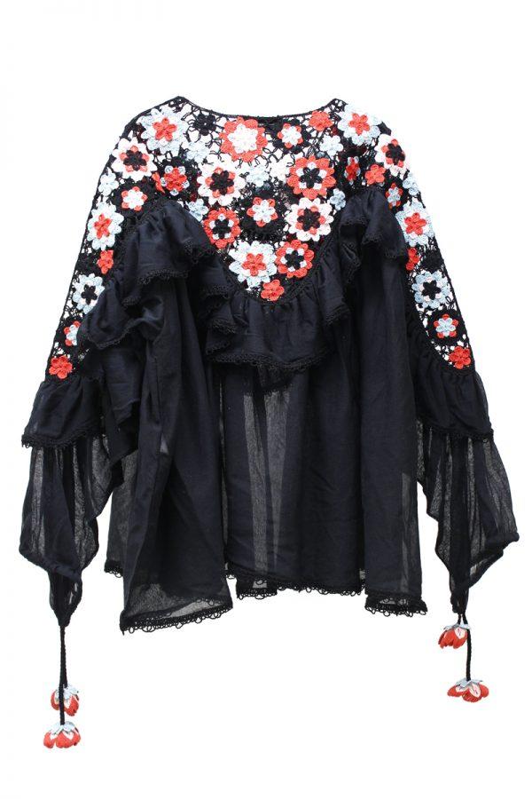 ALANUi フラワー刺繍ワイドフレアブラウス【19SS】