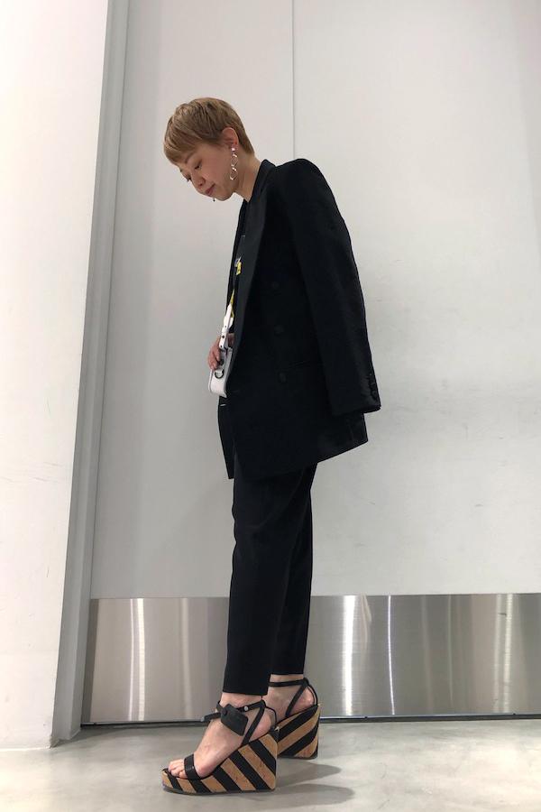 OFF-WHITE 【40%OFF】ストライプウエッジソールサンダル【19SS】