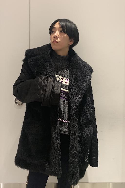 OFF-WHITE 袖切替フェイクファーコート【19AW】