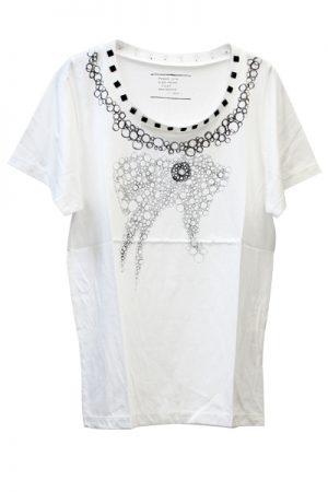 petite robe noire × petite robe noire コラボプリントスタッズT-シャツ