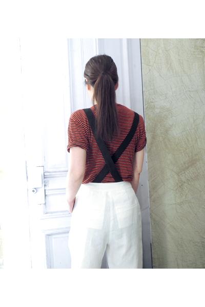 ISABEL MARANT ETOILE コットンリネンボーダー半袖Tシャツ