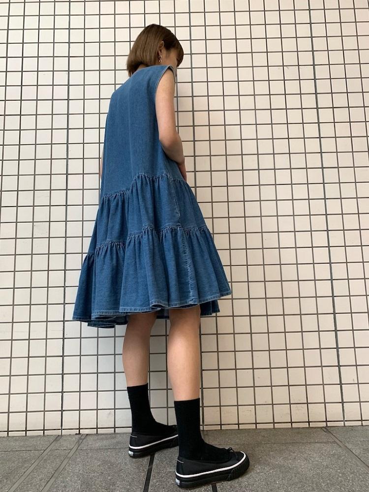 MM6 MAISON MARGIELA 【40%OFF】ラッフルヘムデニムワンピース[20SS]
