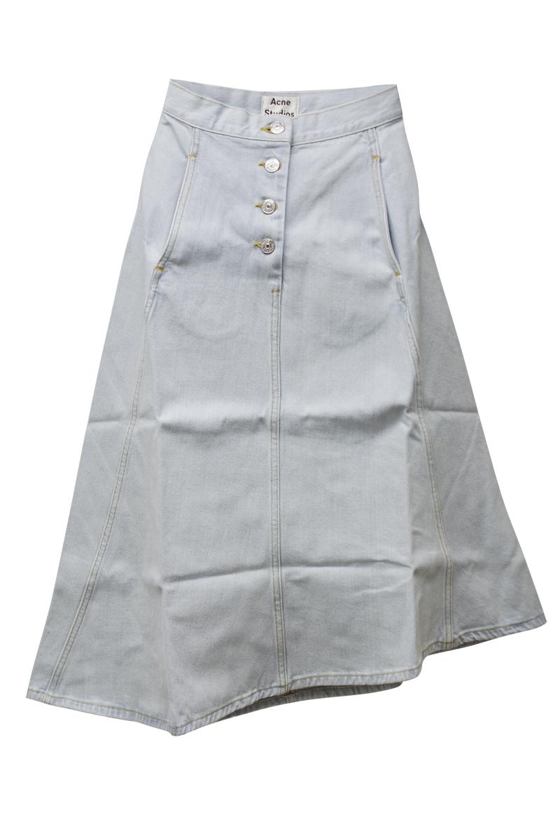 Acne Studios 【30%OFF】フロントボタンデニムアシンメトリーフレアスカート