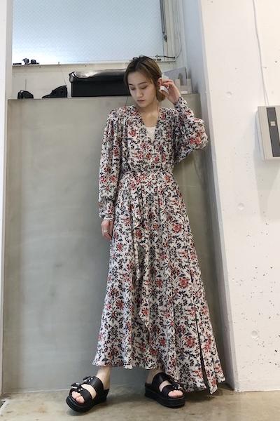 ISABEL MARANT 【40%OFF】花柄Vネックロングワンピース