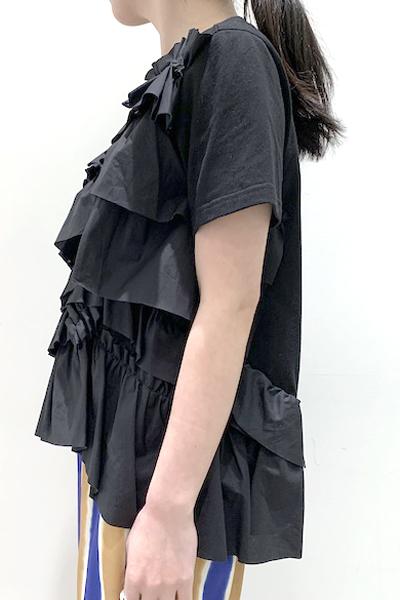Chika Kisada フリル切替半袖トップス [20SS]
