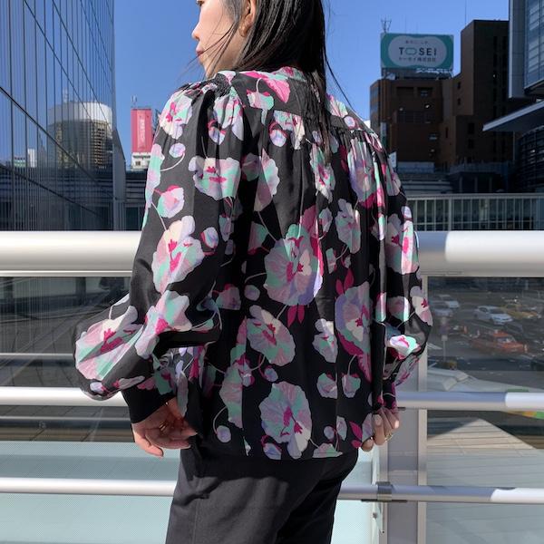 ISABEL MARANT 【40%OFF】大花柄ノーカラーブラウス [20SS]